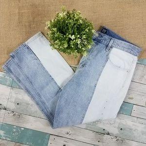GAP Light Bleach Color Block High Straight Jeans